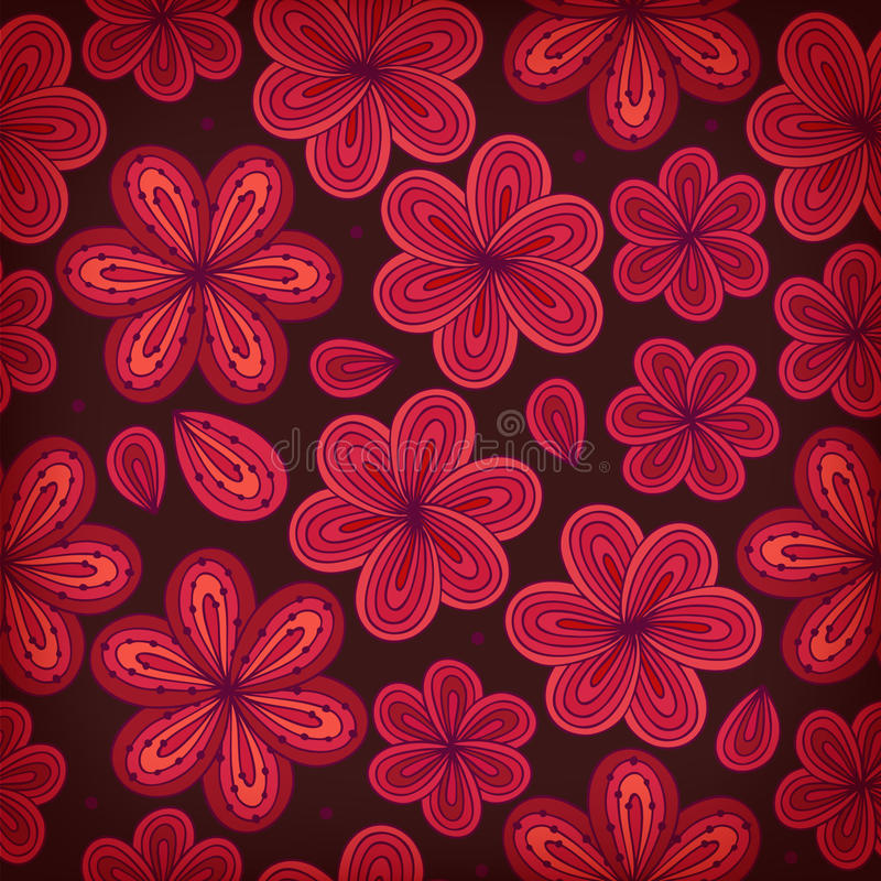 Floral ornamental seamless pattern. Decorative flowers background. Endless ornate texture for prints, crafts, textile royalty free illustration