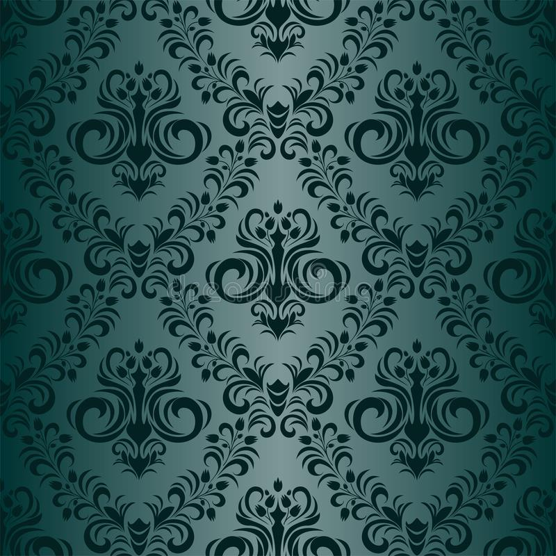 Floral ornamental seamless turquoise Wallpaper in retro style vector illustration