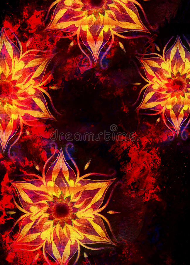 Floral ornamental structure with filigrane pattern mandala on abstract background. Fire Effect. Floral ornamental structure with filigrane pattern mandala on royalty free illustration
