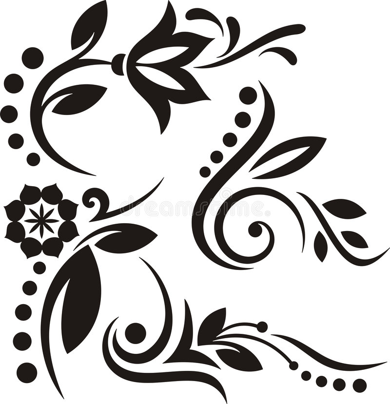 Floral ornaments. A set of 4 floral vinyl-ready ornaments. Exquisite and clean design elements royalty free illustration