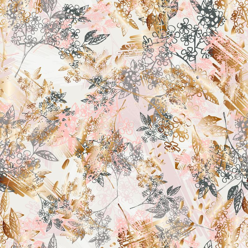 Floral outline spring seamless pattern. Vector composition for romantic backgrounds, wallpaper, covers. Light repeating vector illustration