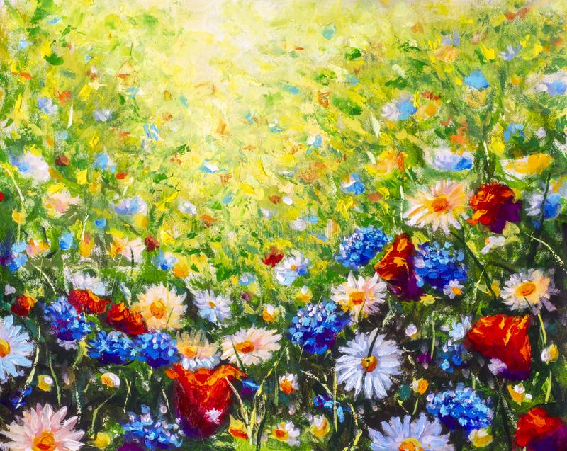 Floral painting landscape. Original oil painting of flowers, beautiful field flowers on canvas. Summer field of flowers. Modern Impressionism. Impasto artwork royalty free stock photography