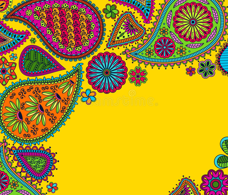Floral Paisley Background With Indian Ormament And Place