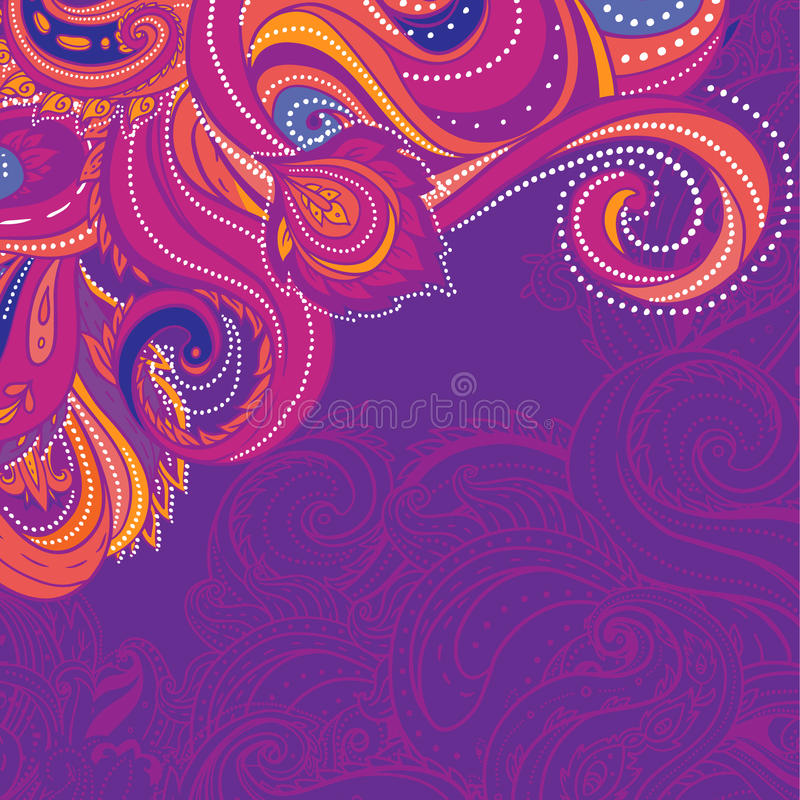 Floral paisley colorful frame stock photography