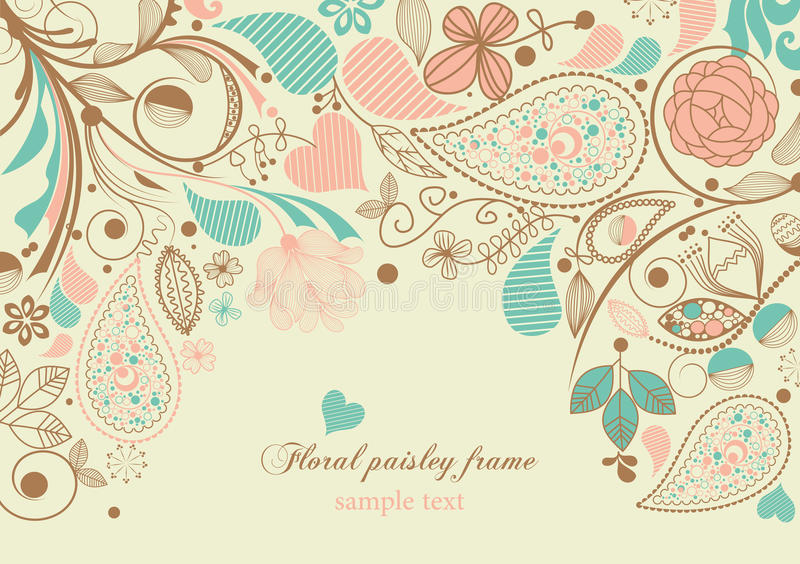 Floral paisley frame vector illustration