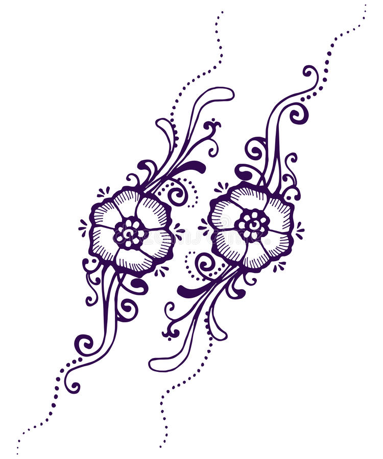 Floral Paisley Henna vector illustration