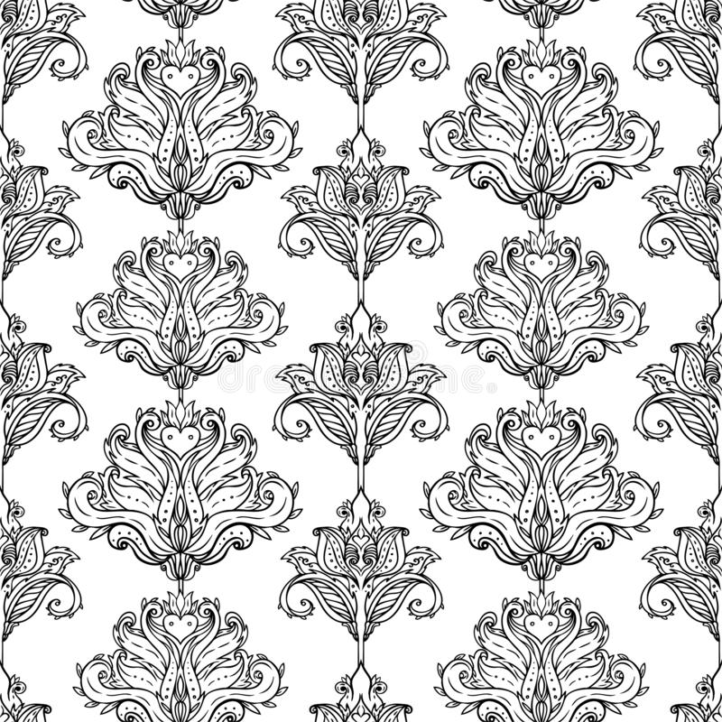Floral paisley inspired Indian vector colorful ornate seamless pattern. Decorative style retro background, ornate design with. Repetition. Heraldic floral stock photography