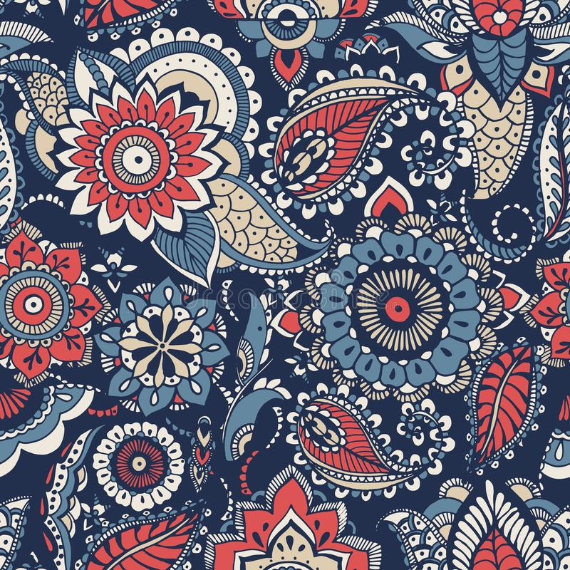 Floral paisley seamless pattern with colorful folk oriental motifs or mehndi elements on blue background. Motley royalty free illustration