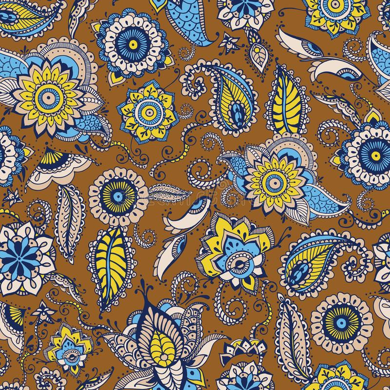 Floral paisley seamless pattern with traditional Persian buta motif and mehndi elements on brown background. Stylized stock illustration