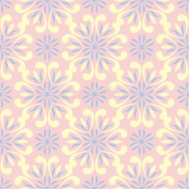 Floral pale pink seamless background. Floral pattern with light blue and yellow elements royalty free illustration