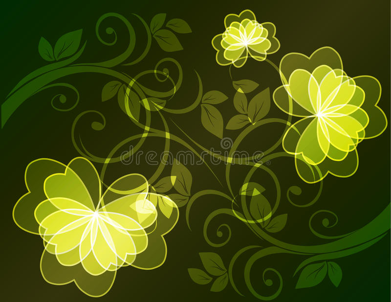 Floral pattern. Abstract yellow flowers on a black background vector illustration