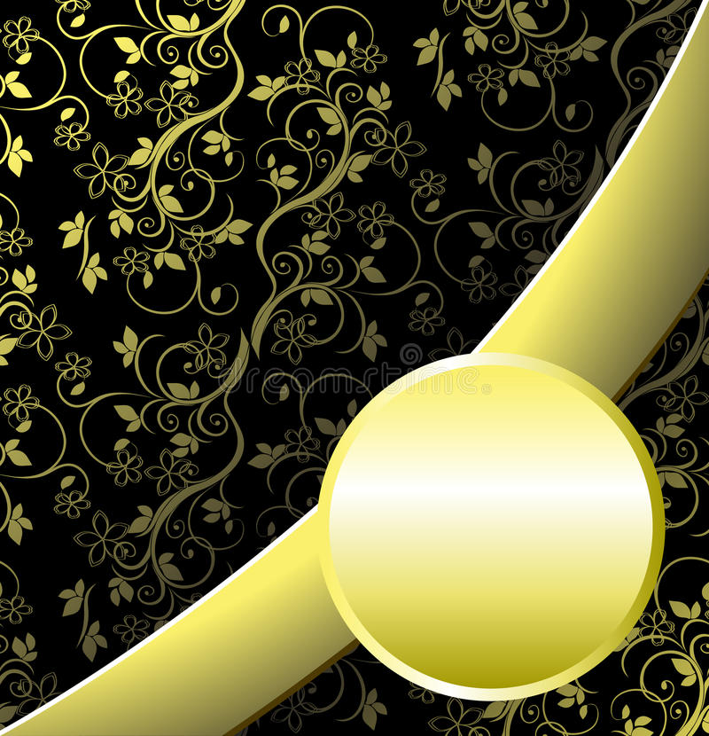 Floral pattern. Gold-colored flowers on a black background with ribbon vector illustration