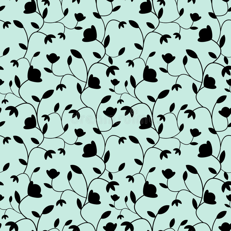 Floral pattern. Seamless floral black pattern on light blue royalty free illustration