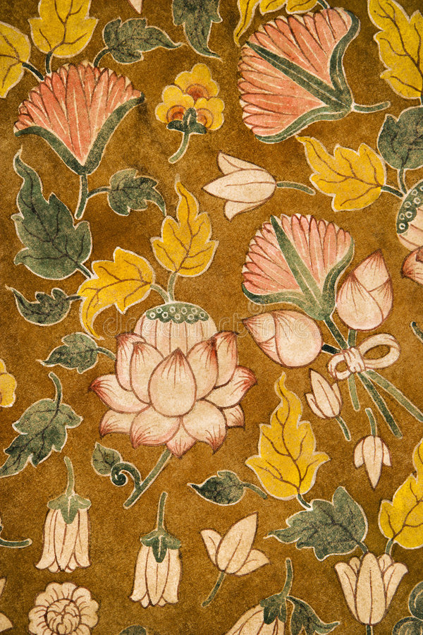 Floral pattern. Detail of floral pattern on old temple cotton scroll from Thailand stock photo