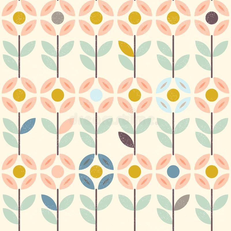 Floral pattern with abstract scandinavian flowers, folk ornaments. Seamless background. Yellow, gray, pastel pink royalty free illustration