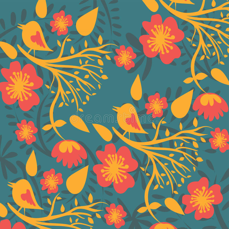 Floral pattern with birds vector illustration