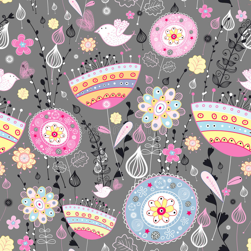 Floral pattern with birds stock illustration