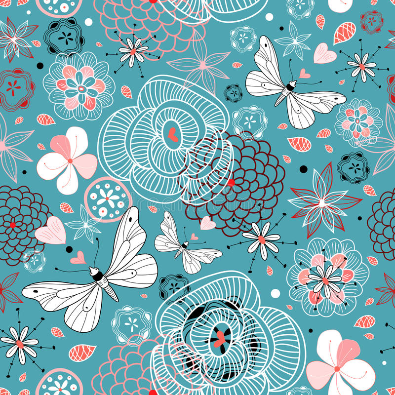 Floral pattern with butterflies vector illustration