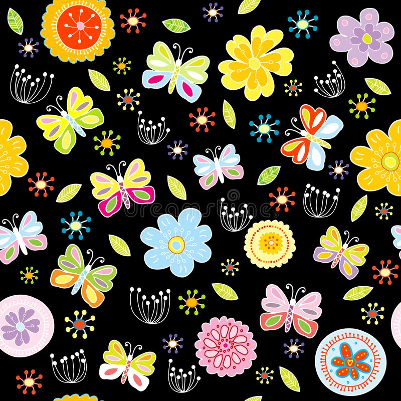 Floral pattern with butterflies on black background royalty free illustration