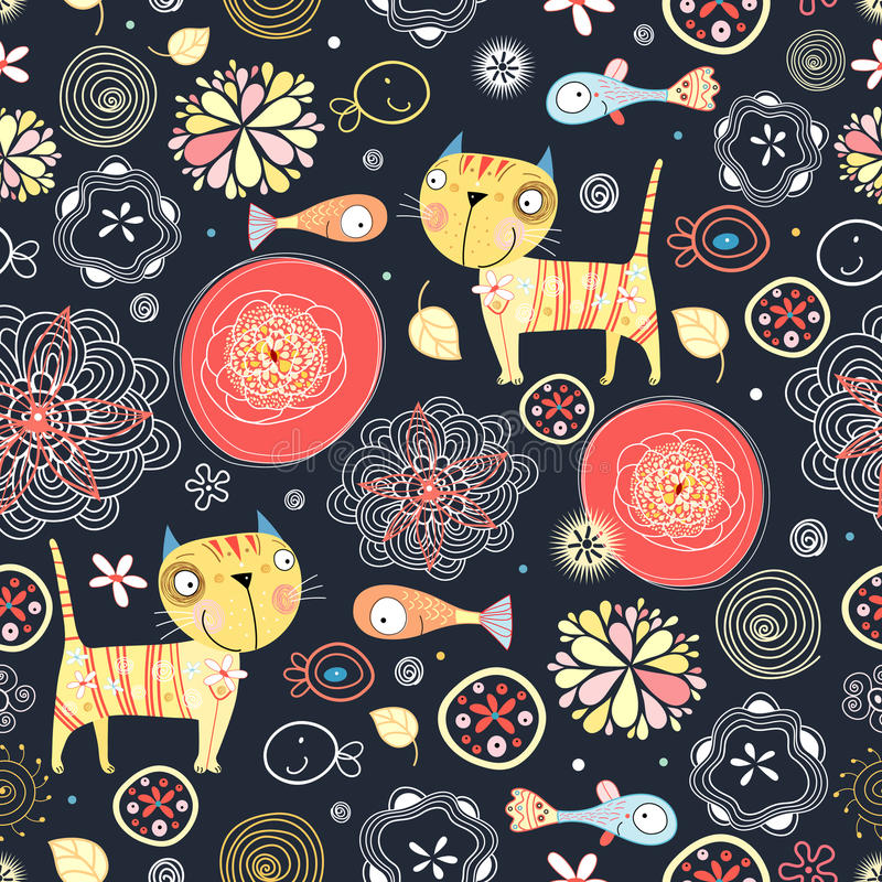 Floral pattern of the cats and fish royalty free stock photo