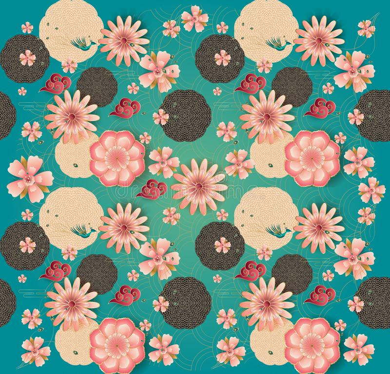 Floral pattern Chinese New Year Traditional Spring garden flowers blossom sakuras stock illustration