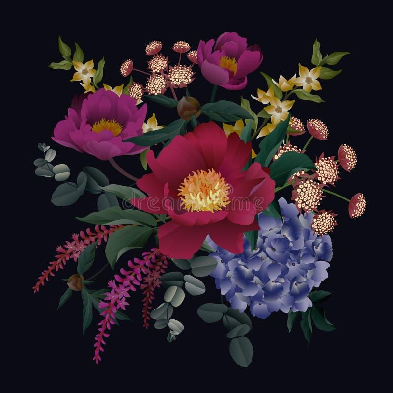 Floral pattern decoration on black background. Peonies, hydrangeas, eucalyptus, foliage and herbs stock illustration