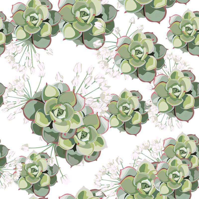 Floral pattern, delicate flower wallpaper, white herbs and green succulent. Delicate feminine pattern on the light background vector illustration