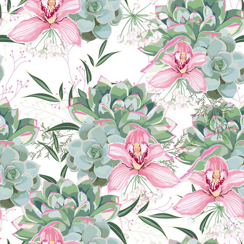 Floral pattern, delicate flower wallpaper, white herbs, pink orchid and green pink succulent. Delicate feminine pattern on the white background royalty free illustration