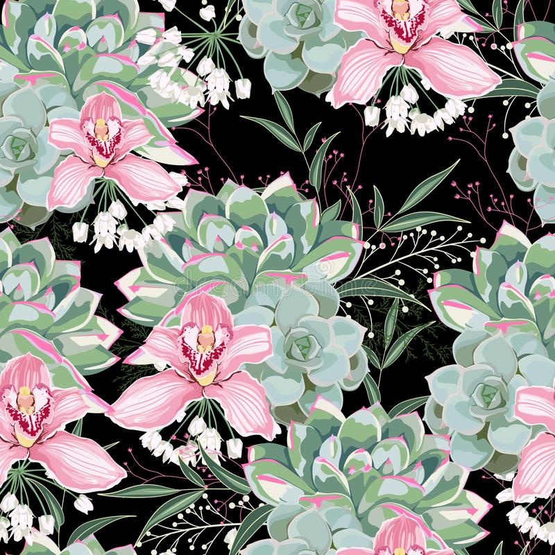 Floral pattern, delicate flower wallpaper, white herbs, pink orchid and green pink succulent. Delicate feminine pattern on the black background royalty free illustration