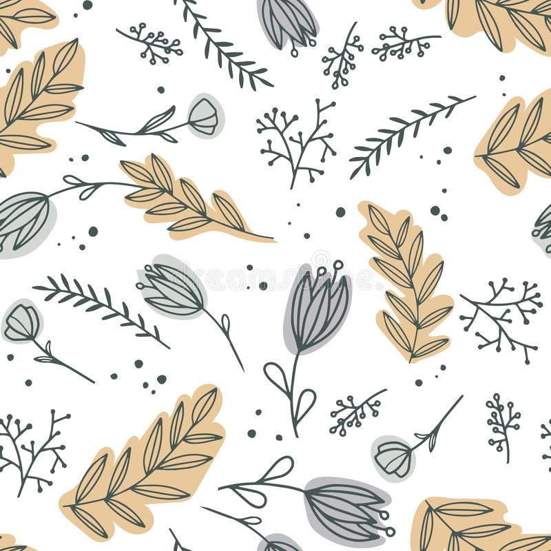 Floral pattern with different flowers and leaves on white background. stock illustration