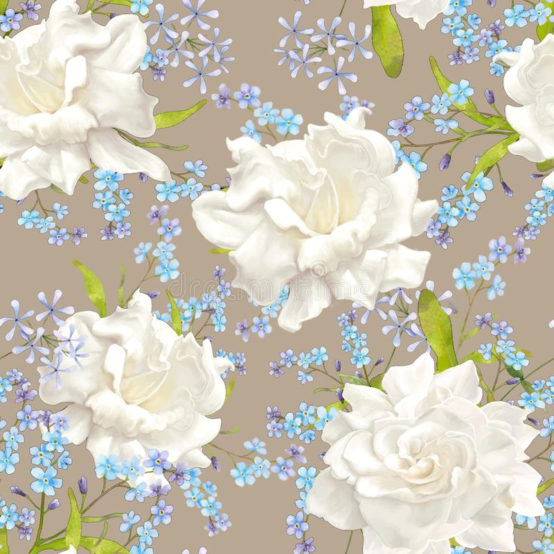 Floral pattern. Flower seamless background. Flourish ornamental garden stock illustration