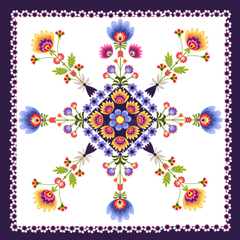Floral pattern folk. Polish folk design with roosters - inspiration stock illustration