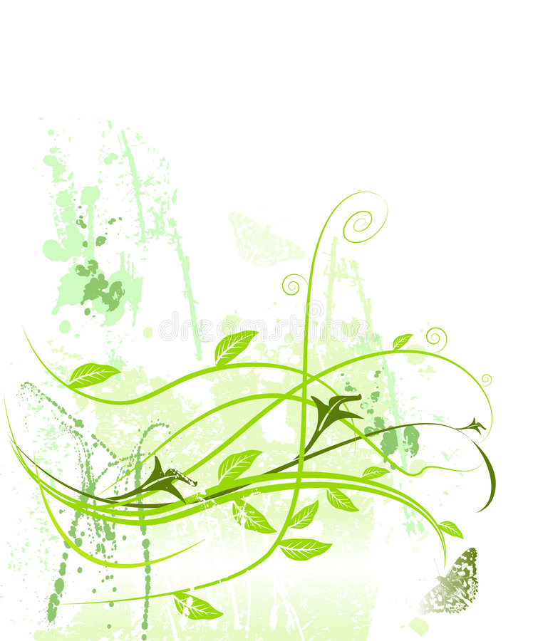 Floral pattern grunge growth nature butterfly stock illustration