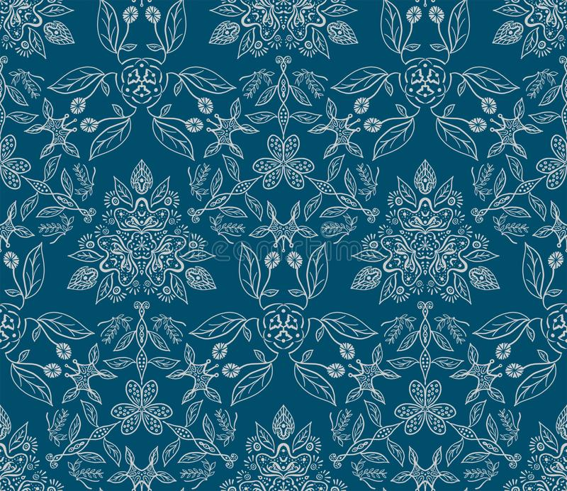 Floral pattern - hand drawn leafs and flowers. vector illustration