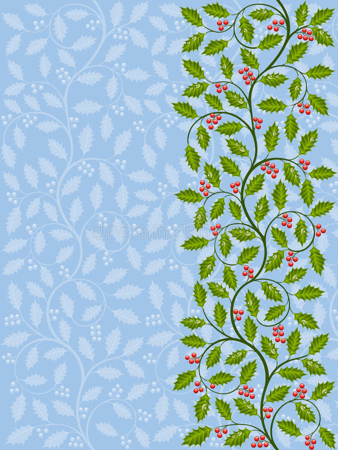Download Floral pattern with ilex stock vector. Image of christmas - 24649528