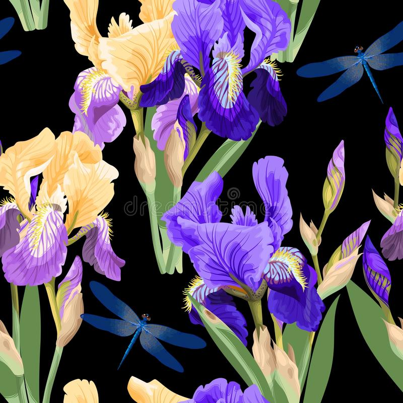 Floral pattern with iris flowers stock illustration