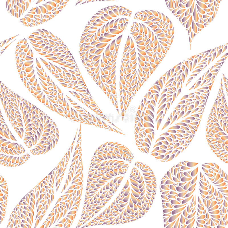 Floral pattern leaves textured tiled background Ornamental flour. Floral leaves seamless pattern. Leaf textured background. Ornamental flourish tiled texture stock illustration