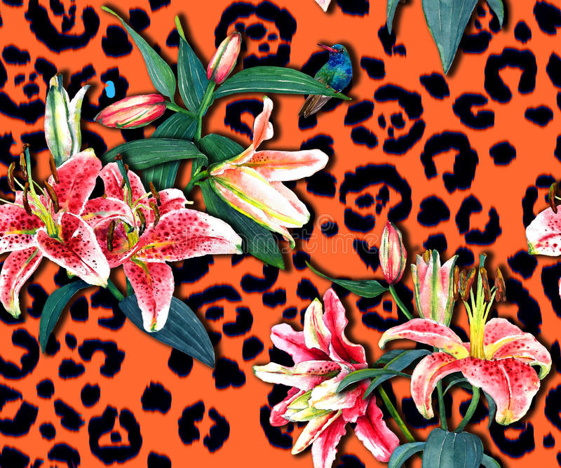Floral pattern on leopard print. Seamless floral pattern of beautiful pink lilies and a hummingbird on orange leopard spots background. Hand painted watercolor stock photography