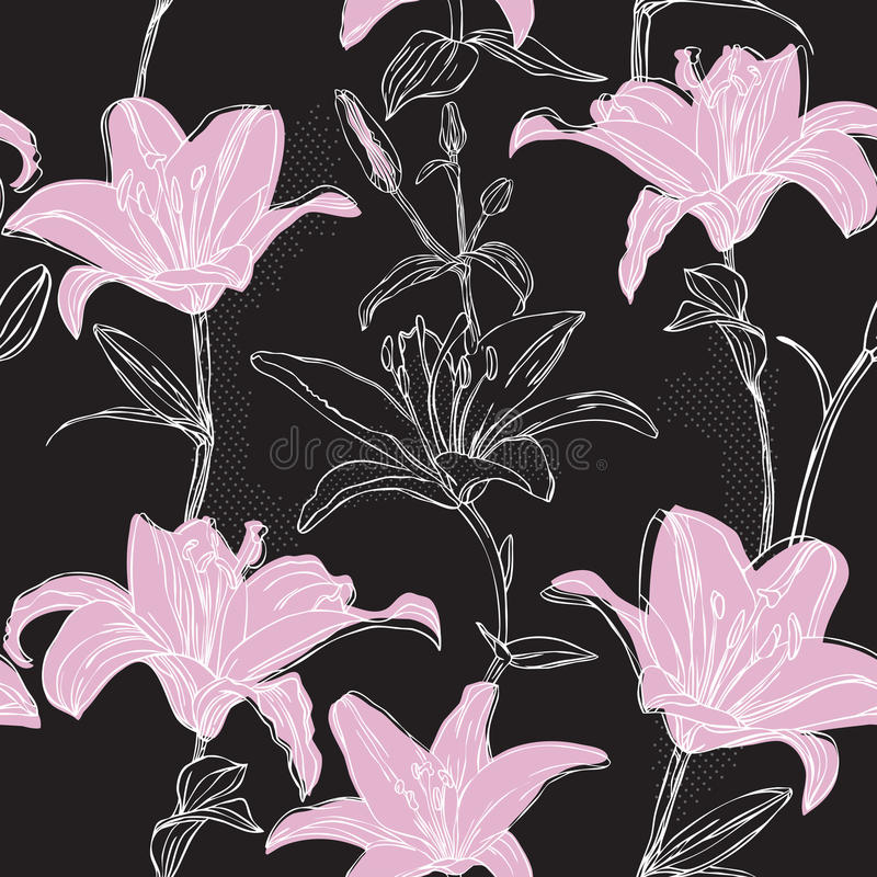 Floral pattern with lily royalty free illustration