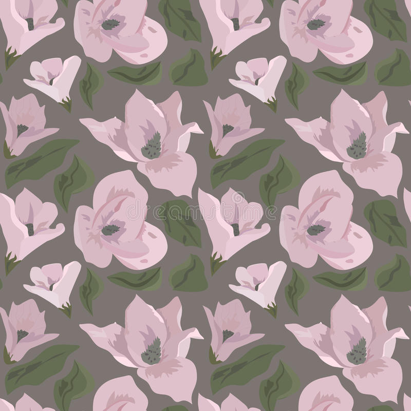 Floral pattern. With magnolia on grey background royalty free illustration