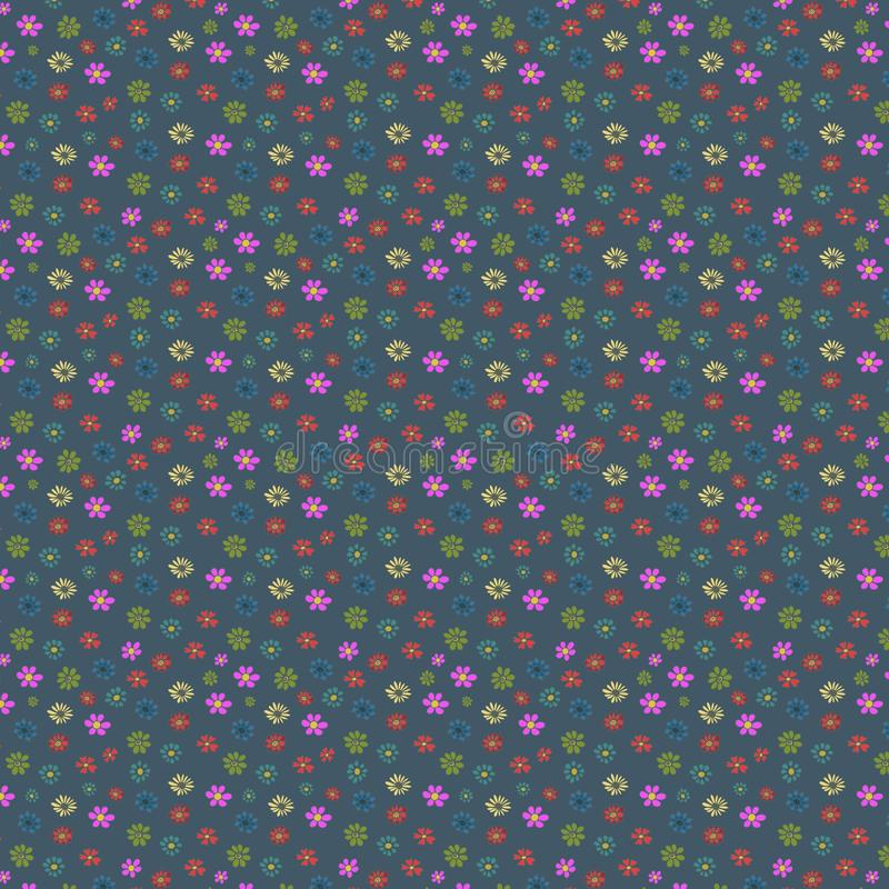 floral pattern, multi-colored flowers on a blue  background, seamless texture for designers royalty free illustration