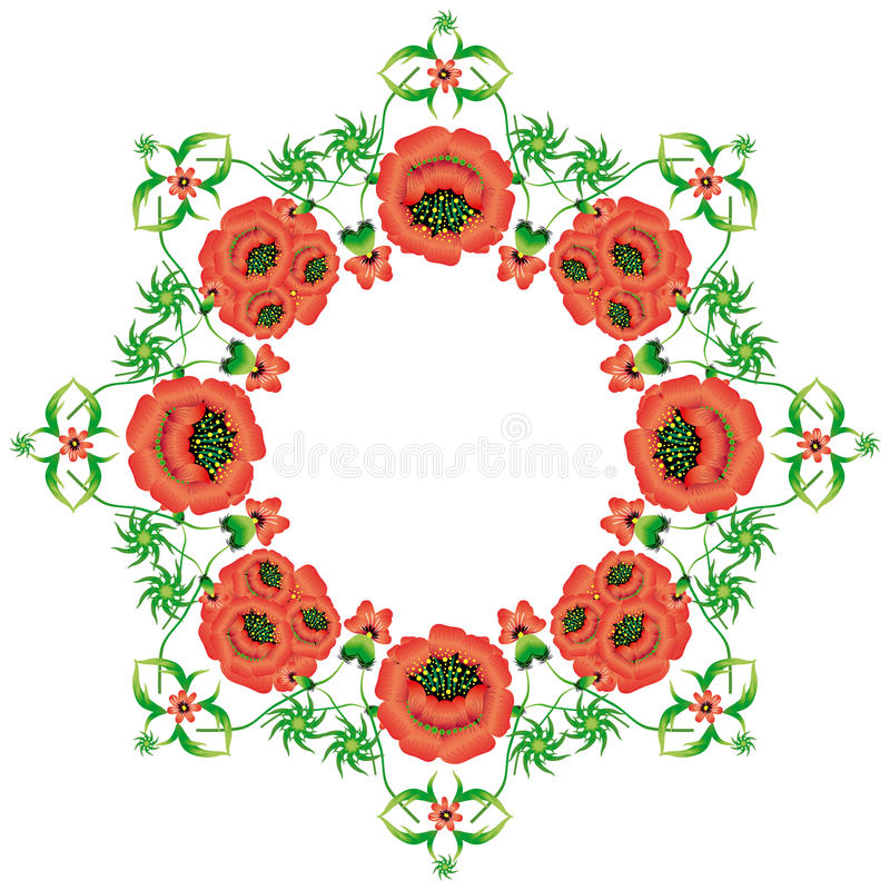Floral pattern in the national Ukrainian Petrikovka style. stock illustration