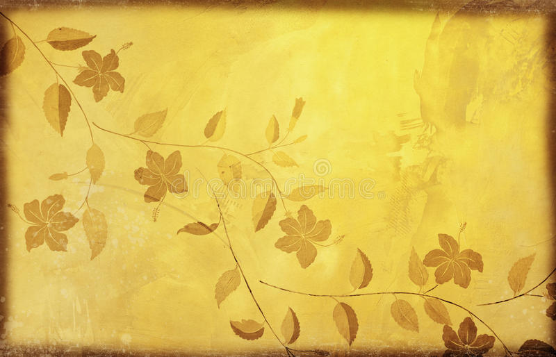 Download Floral Pattern On Old Grunge Paper Stock Illustration - Image: 23168715