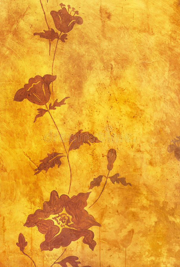 Floral pattern on old grunge wall royalty free illustration