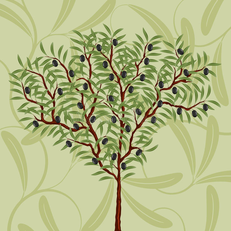 Download Floral Pattern With An Olive Tree Stock Illustration - Image: 17578499