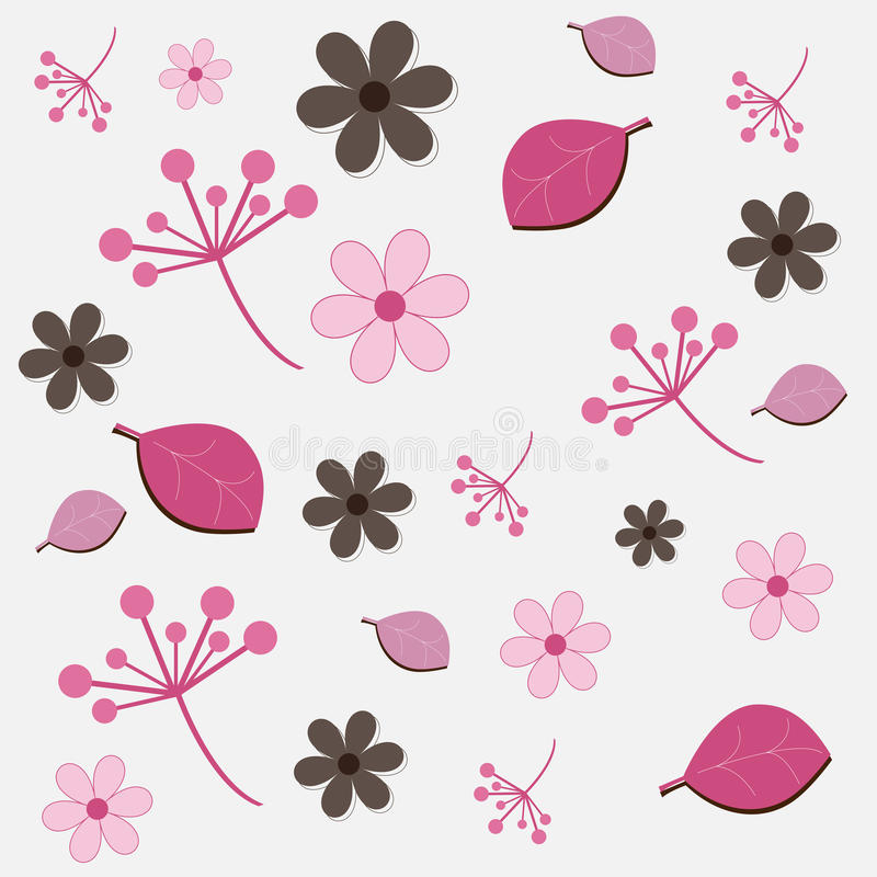 Floral pattern - pink and brown stock illustration