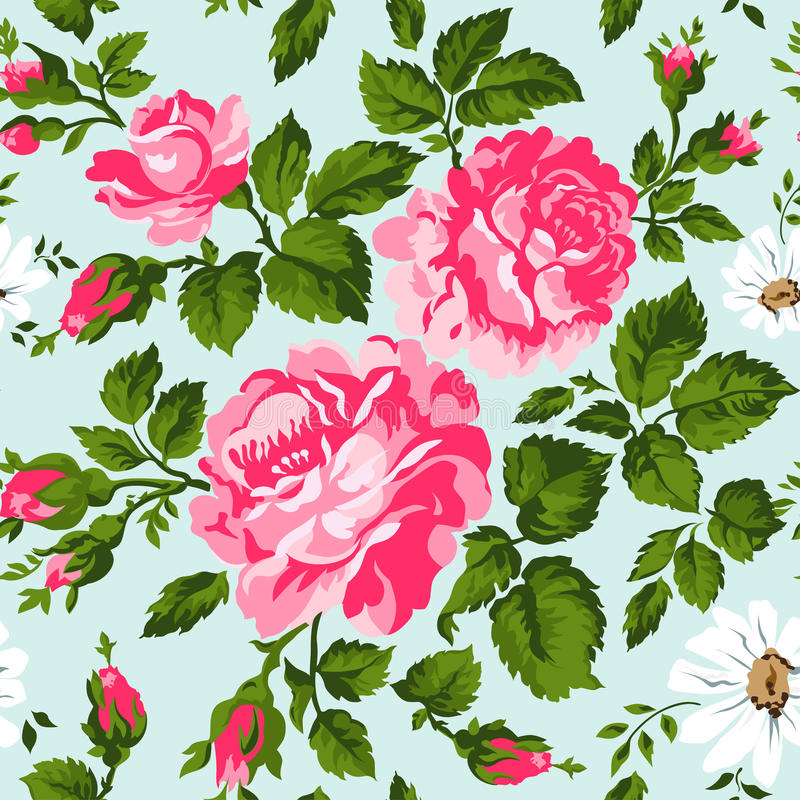 Floral pattern with pink roses. Vector Floral Background. Easy to edit. Perfect for invitations or announcements. stock illustration