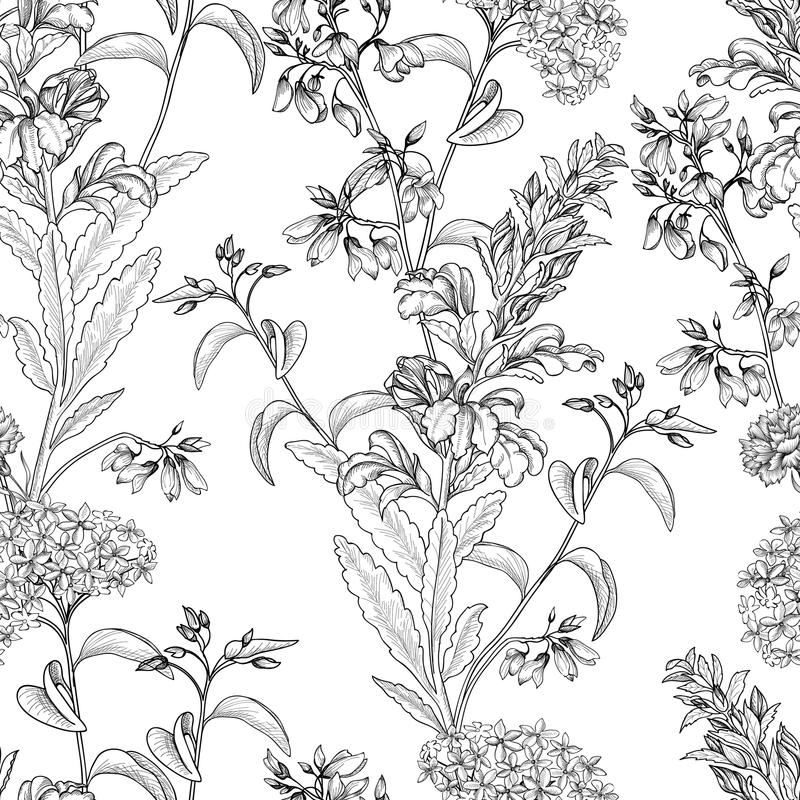 Floral pattern. Posy background. Flower bouquet wallpaper. Flourish texture. Floral seamless pattern. Flower background. Floral tile ornamental texture with stock illustration