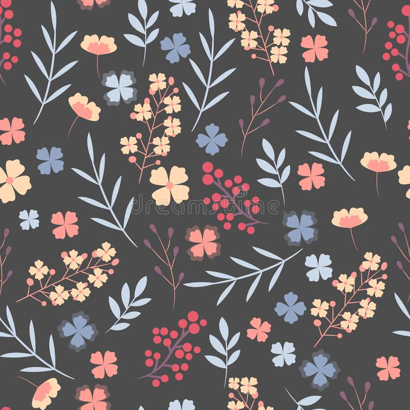 Floral pattern. Pretty flowers on dark blue background. Printing with small colorful flowers. Ditsy print. Seamless vector illustration