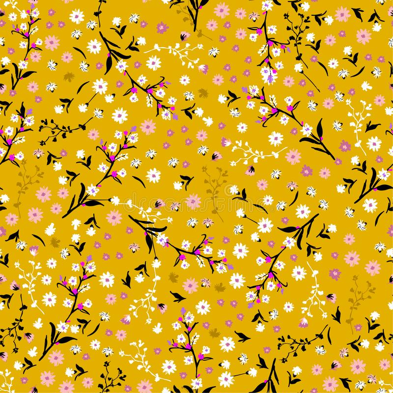 floral pattern pretty flowers on vintage yellow